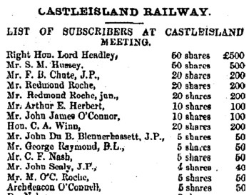 Extract from a lengthy list of subscribers 1871