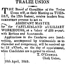 Situation vacant in April 1849