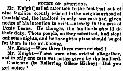5 Tralee Board of Guardians question eviction procedures in 1882