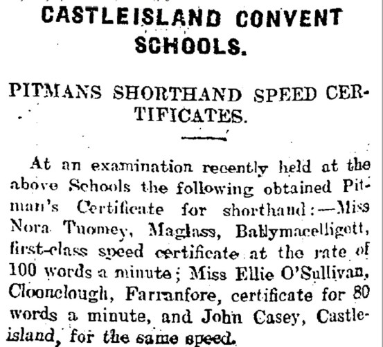 6 80 wpm shorthand speed for John Casey of Castleisland in 1910