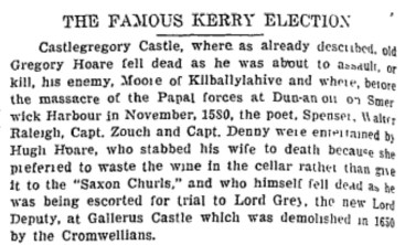 7 Editorial from Kerryman newspaper, 1927, Gallerus Castle demolished 1650