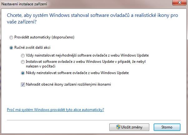 Jak zakázat automatické stahování ovladačů z internetu ve Windows