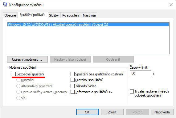 Jak spustit nouzový režim ve Windows 10?