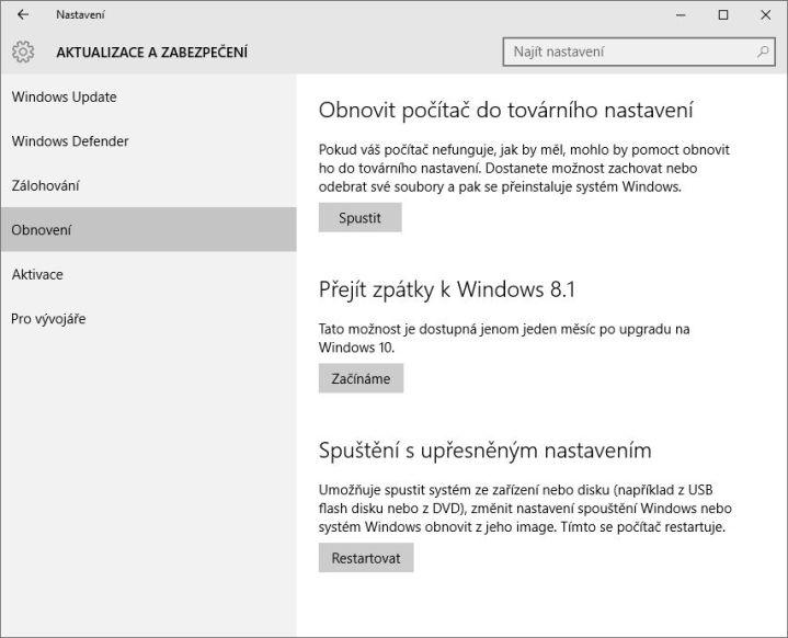 Jak se z Windows 10 vrátit zpět na původní Windows?