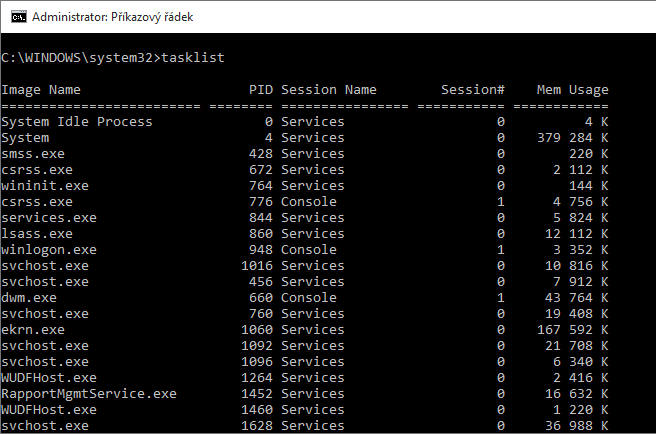 Jak zjistit v příkazové řádce seznam spuštěných aplikací