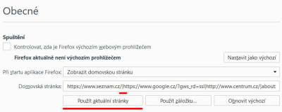 Firefox, nastavení více domovských stránek