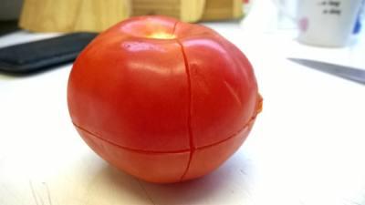 loupání rajčete