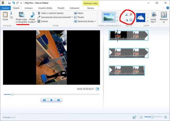 Otočení videa v Movie Makeru