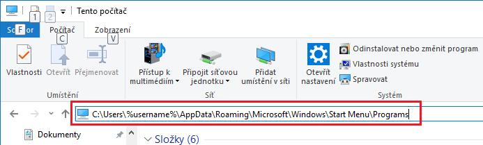 Jak přidat zástupce do start menu ve Windows 10?