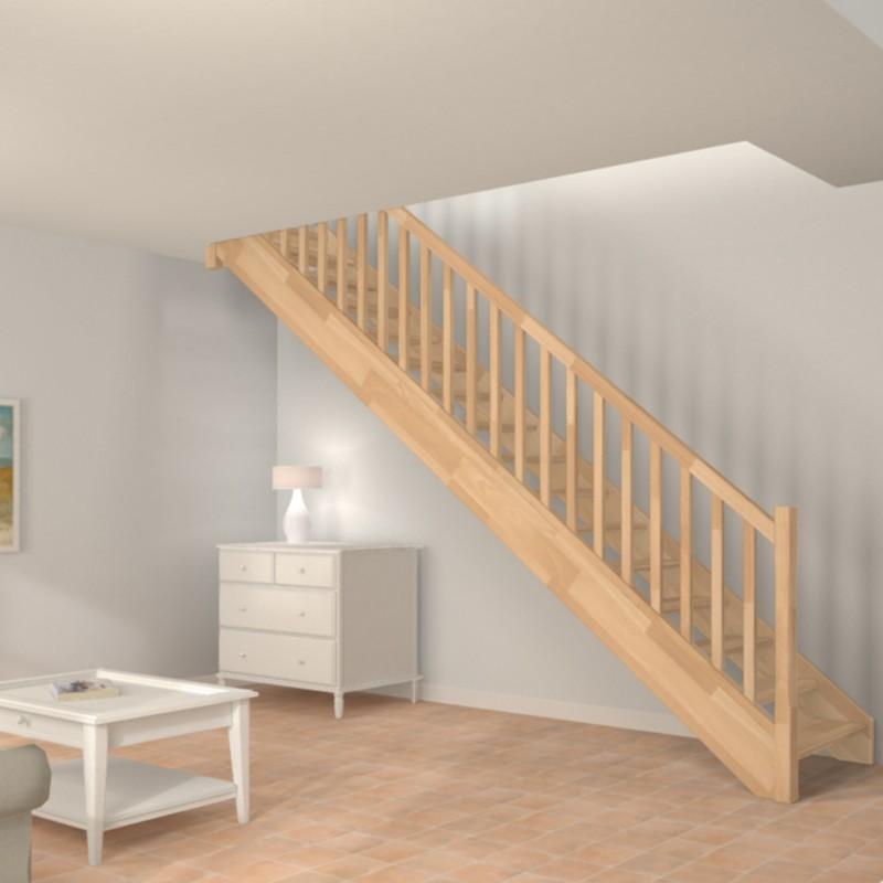 escalier droit sur mesure traditionnel en bois sur mesure oeba