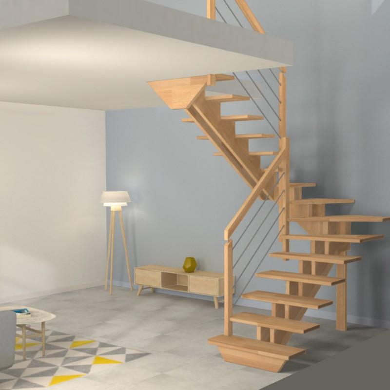 escalier demi tour a double limons cremaillere centres en bois poteaux bois oeba
