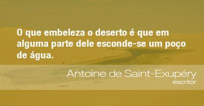 O que embeleza o deserto é que em alguma parte dele esconde-se um poço de água. - Antoine de Saint-Exupéry, escritor.