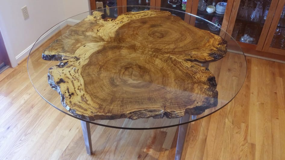 Bookmatch Burl Table Oe Custom