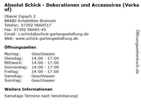 """schick gartengestaltung ᐅ Öffnungszeiten """"absolut schick - dekorationen und"""