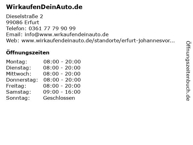 ᐅ Offnungszeiten Wirkaufendeinauto De Dieselstrasse 2 In Erfurt