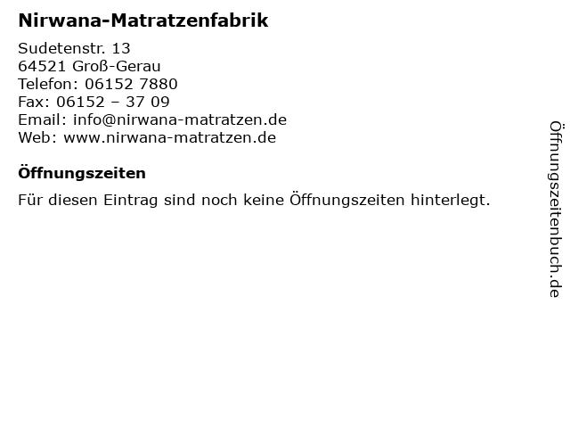 ᐅ Offnungszeiten Nirwana Matratzenfabrik Sudetenstr 13 In
