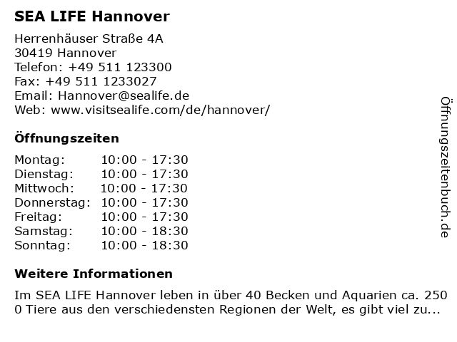 ᐅ Offnungszeiten Sea Life Hannover Herrenhauser Strasse 4a In Hannover