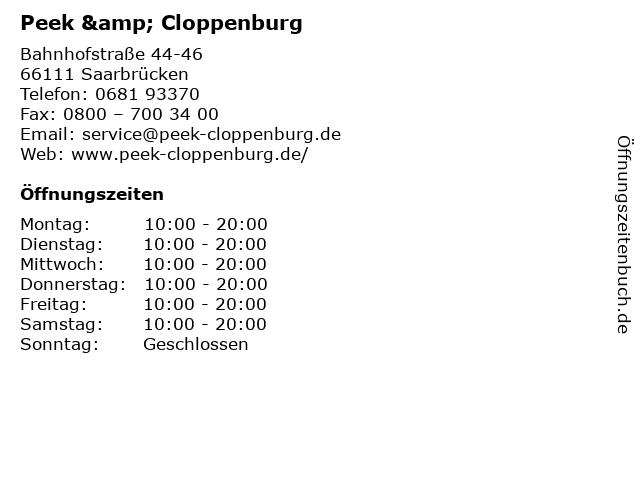ᐅ Offnungszeiten Peek Cloppenburg Bahnhofstrasse 44 46 In Saarbrucken