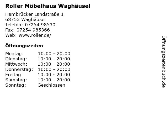 ᐅ Offnungszeiten Roller Mobelhaus Waghausel Hambrucker
