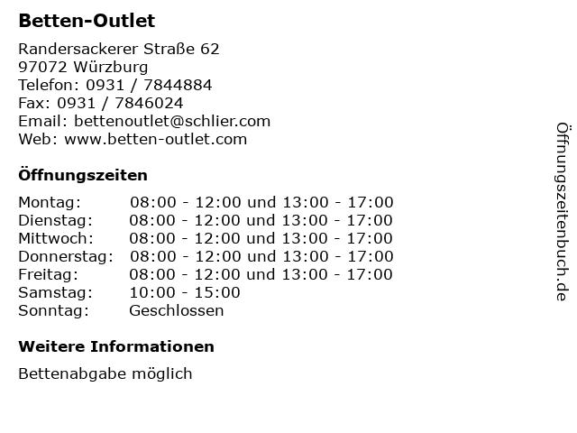 ᐅ Offnungszeiten Betten Outlet Randersackerer Strasse 62 In