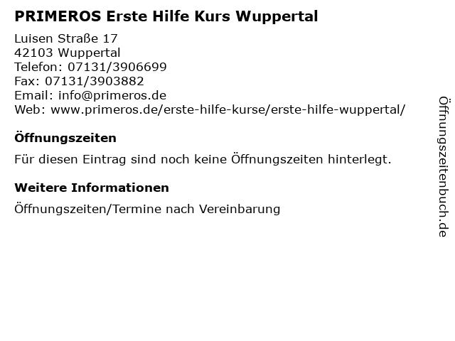 ᐅ Offnungszeiten Primeros Erste Hilfe Kurs Wuppertal Luisen Strasse 17 In Wuppertal