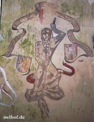"""Heiliger Georg mit dem Zeichen des Doppelkreuzes auf der Brust, Wappen von Niedersachsen, Landkreis Lüneburg, Stadt Lüneburg, Sinnspruch: """"Leichter träget, was einer träget, der Geduld zur Bürde leget"""""""