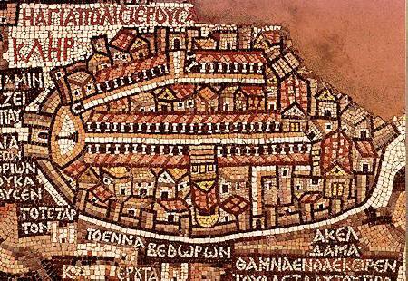 Gerusalemme nel mosaico di Madaba, in Giordania (VI secolo) - Egeria