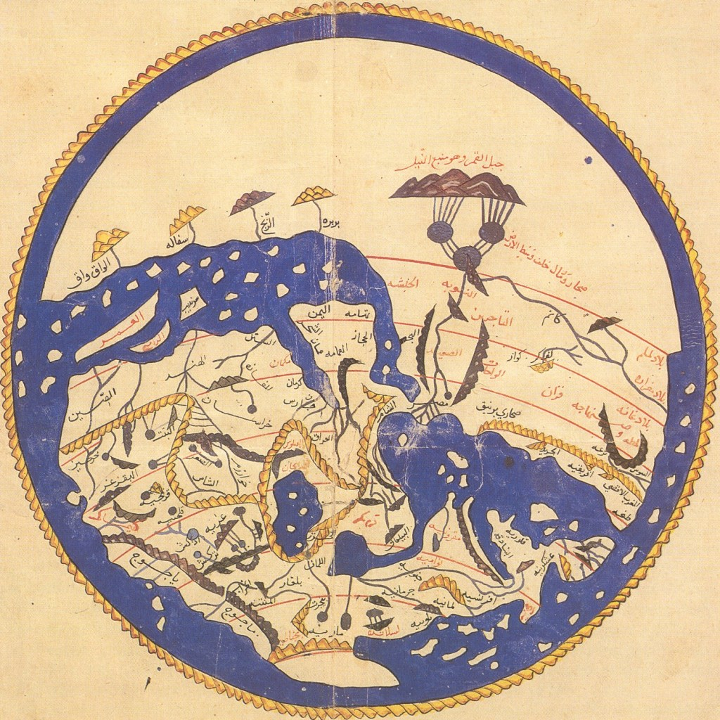 1154 world map by Al Idrisi for King Roger of Sicily