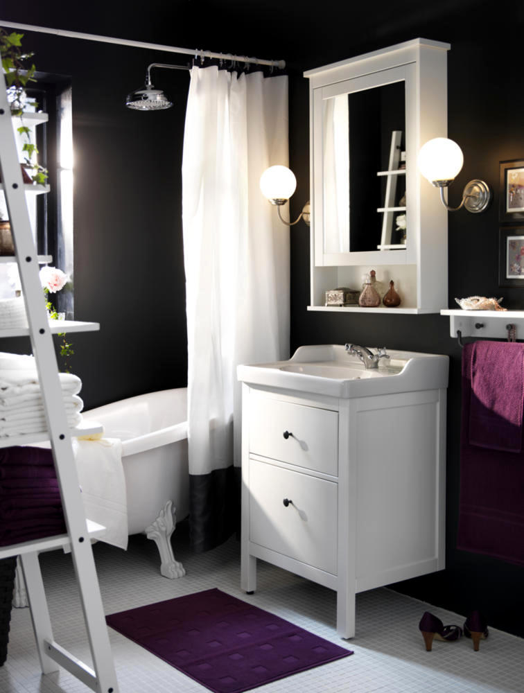 Chamber Of Anthracite Bathroom Design Purple And White