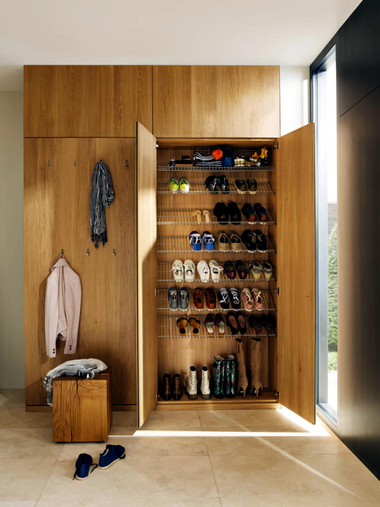 Wooden Wardrobe With Shoes Rack Integrated Interior Design Ideas Ofdesign