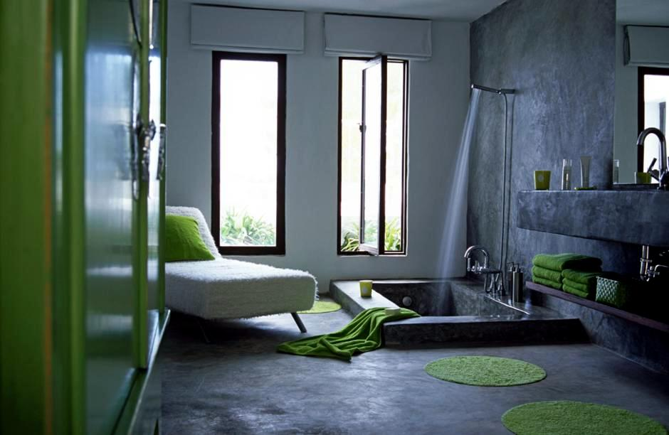 Sunken Tub And Cement Interior Design Ideas Ofdesign