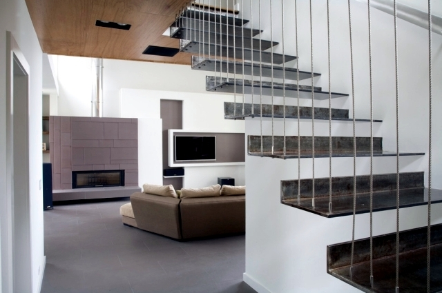 The Modern Steel Staircase Inside And Outside For Amazing Design | Stair Room Exterior Design | 3 Floor Building | Box Type | Brick | Open Plan | Amazing