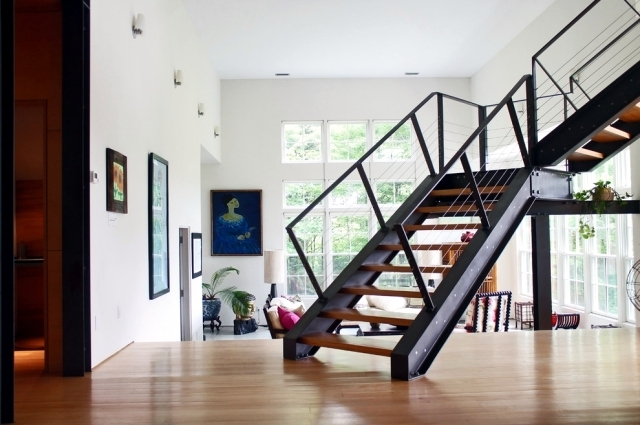 The Modern Steel Staircase Inside And Outside For Amazing Design | Staircase Design Steel And Wood | Angle Bar Stair | U Shaped Stair | Simple | Wooden Step | Open