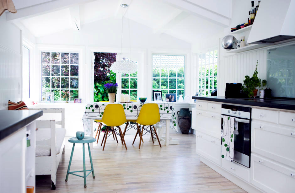 Yellow And White Dining Room