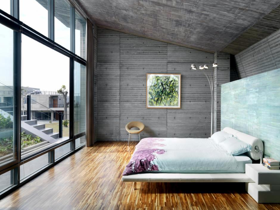 Concrete Walls And Windows In The Bedroom Interior Design Ideas Ofdesign