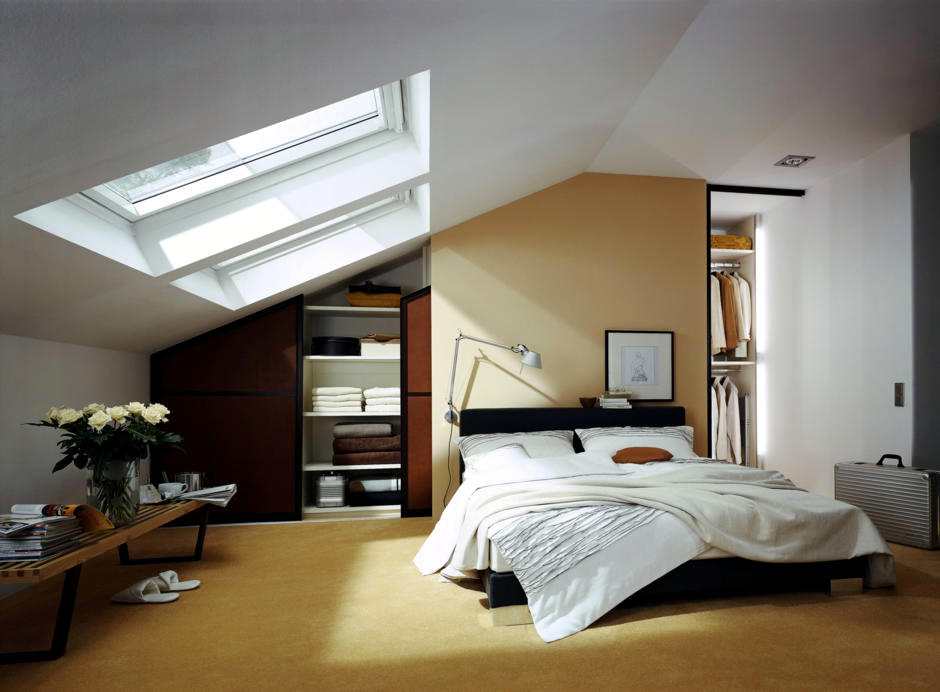 Built In Wardrobe In The Bedroom With Sloping Roof