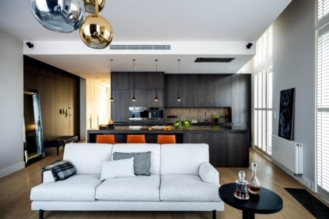 Living room and kitchen in one space - 20 modern design ...
