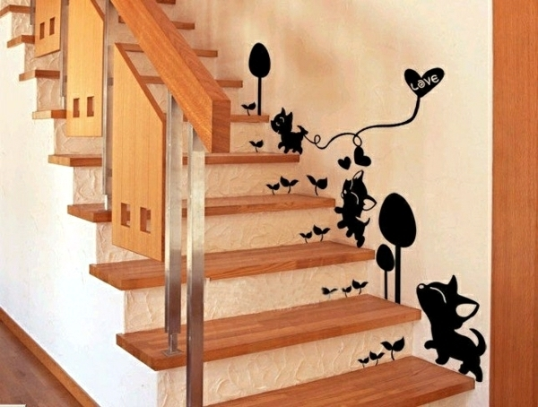 The Staircase Decorating Ideas With Paint Leftover Wallpaper And   Wall Painting Designs For Staircase   Simple   Decorative   Two Tone   Modern   Hall Nature