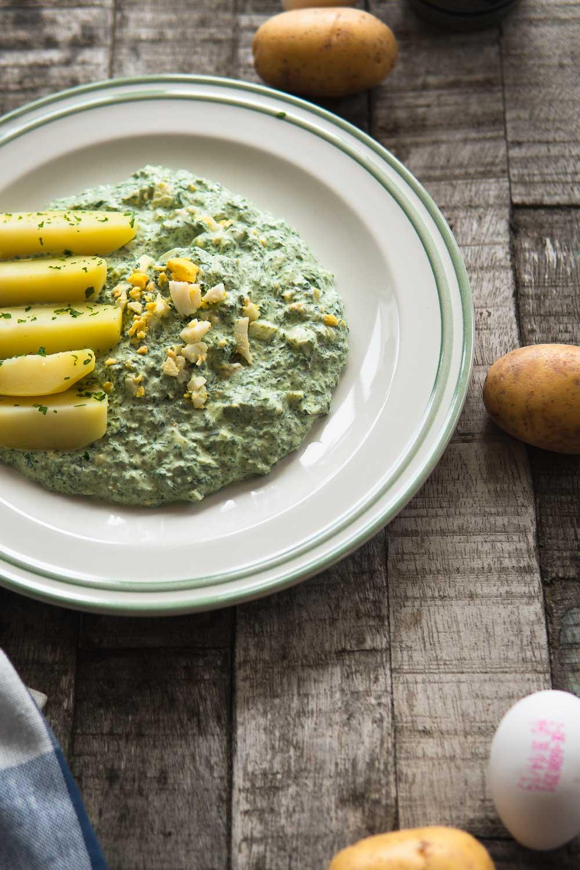 Grie Soß hessisches Nationalgericht Eier 7 Kräuter frisch Hessen Foodblog Ofen offen