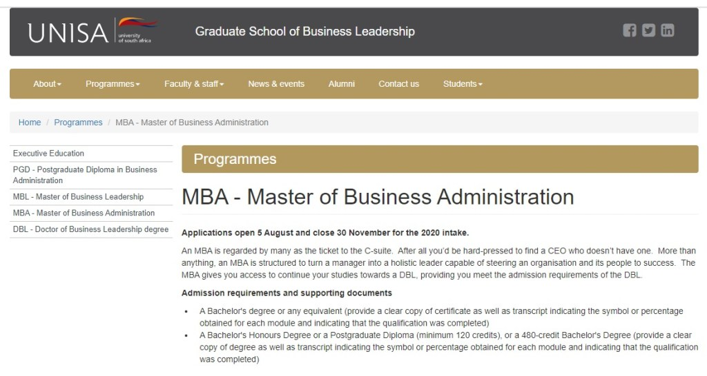 UNISA MBA