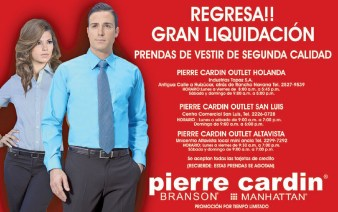 Regresa gran liquidacion PIERRE CARDIN Branson Manhattan - 19sep13