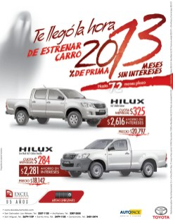 Toyota Hilux auto savings EXCEL Automotriz