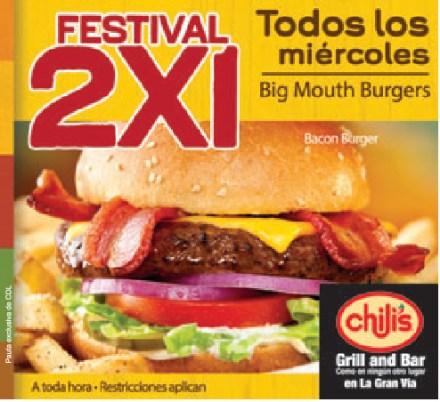 Festival 2x1 Miercoles en Chilis BURGERS - 02oct13