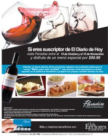 PARADISE Lobster and steak house club de lectores - 15oct13