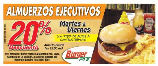 Almuerzos Ejecutivos con descuento BURGER PIT el salvador - 12nov13