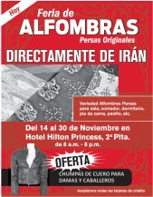 Feria de ALFOMBRAS persas originales desde IRAN - 14nov13