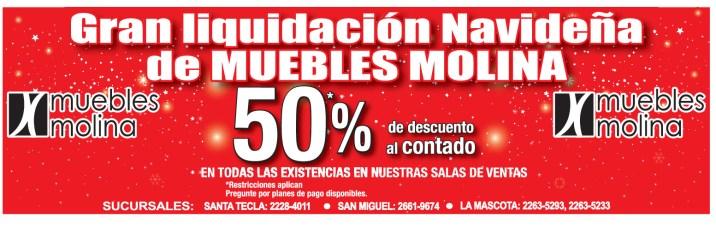 Gran liquidacion Navideña Muebles Molina el salvador - 15nov13