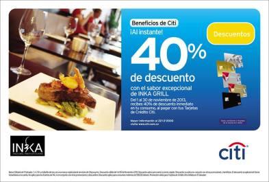 INKA Grill descuento con Banco CITI - nov13