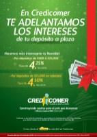 Intereses en depositos a Plazos CREDICOMER el salvador - 12nov13
