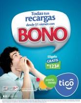 Recargas TIGO todas tienen BONO - 27dic13